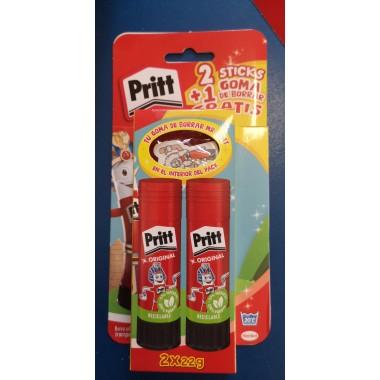Pack 2 barras Pritt 22 gr. + Goma borrar Gratis.