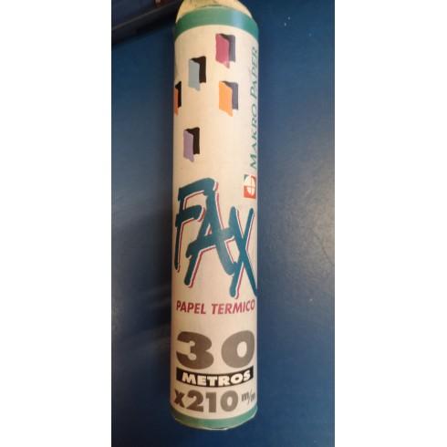 Rollo Papel Térmico FAX 30 mts. x 210 m/m Makro Paper.
