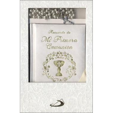 Estuche Primera Comunión (libro oraciones + rosario). San Pablo.