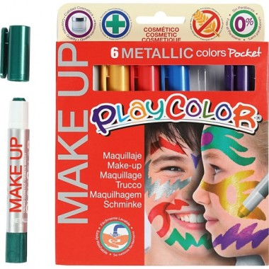 Maquillaje PLAYCOLOR 6 colores make up pocket metálicos.