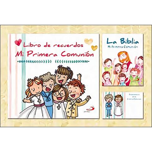 Estuche Mi Primera Comunión (libro recuerdos + biblia + recordatorios). Editorial San Pablo.