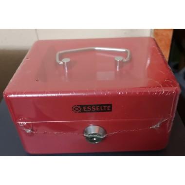 Caja de caudales Esselte roja.