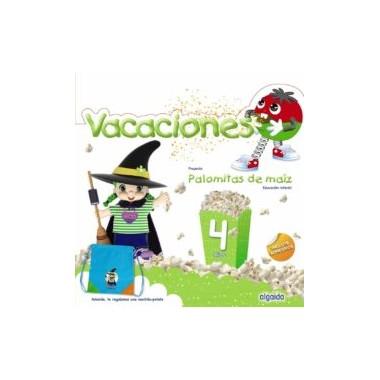 Cuaderno de vacaciones Palomitas de maíz 4 años (incluye adhesivos). Algaida.