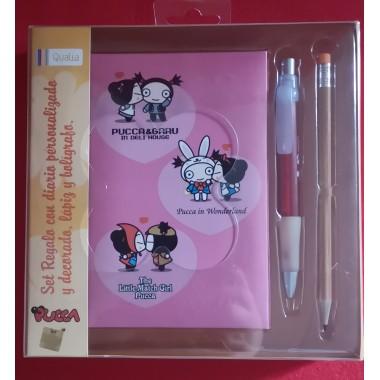 Set regalo PUCCA con diario personalizado y decorado, lápiz y bolígrafo.