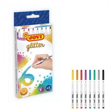 Estuche 8 rotuladores Jovi GLITTER colores.