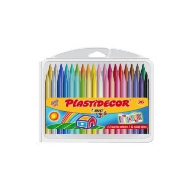 Estuche de 36 lápices de cera Plastidecor.