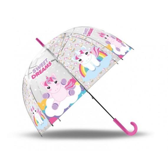 Paraguas Unicornios Sweet Dreams campana transparente.