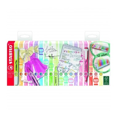 Pack Stabilo Swing Cool 18 colores marcadores fluorescentes.