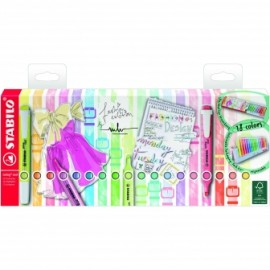 Pack Stabilo Swing Cool 18 colores marcadores fluorecentes pastel.