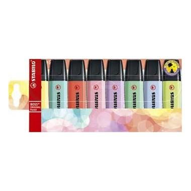 Estuche con 8 marcadores Stabilo Boss pastel / Estoxo con 8 marcadores Stabilo Boss pastel