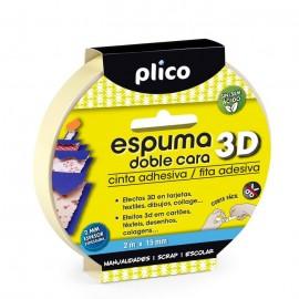 Cinta adhesiva Espuma doble cara  plico 2m x 15mm.