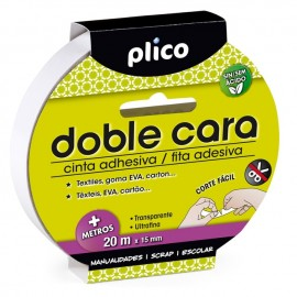 Cinta adhesiva Plico Doble Cara 20m x 15mm.