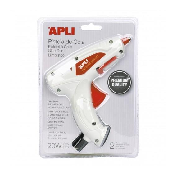 Pistola de Cola APLI PREMIUM 20W + 2 barras de cola