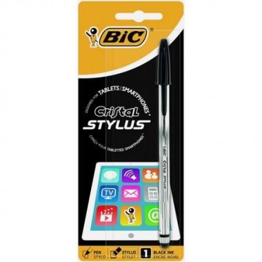Bolígrafo BIC CRYSTAL STYLUS NEGRO con puntero pantallas