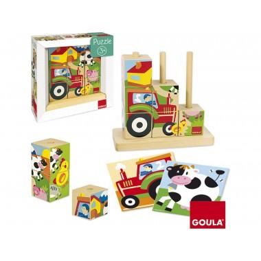 Puzzle GOULA cubos La Granja (4 puzzles) / Puzle GOULA cubos A Granxa (4 puzles)
