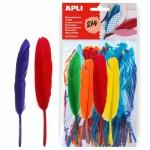 Bolsa de Apli de plumas de colores 100 unds.