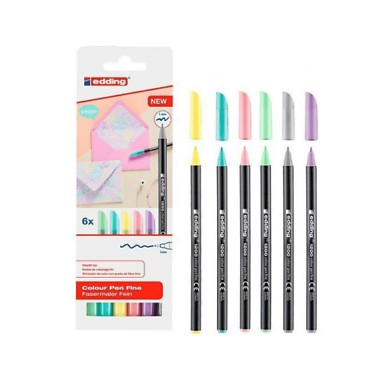Caja de 6 rotuladores Edding 1200 color pastel