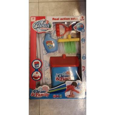 Kit de limpieza escoba con accesorios.