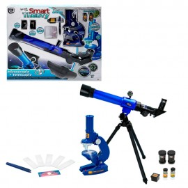 Caja con Microscopio + Telescopio  y accesorios.